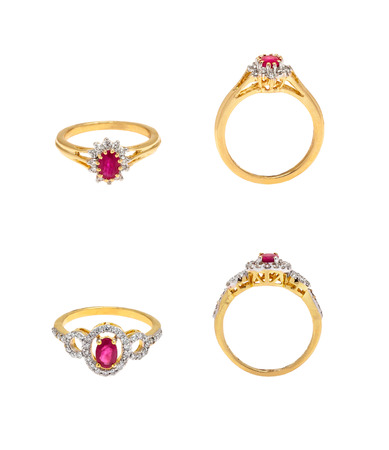Collection of diamond rings on white background photo