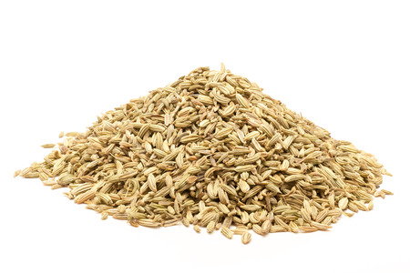 vulgare: Pile of Organic Fennel seed Foeniculum Vulgare isolated on white background.