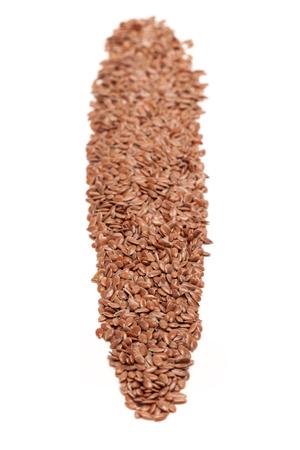 usitatissimum: Row of Organic Linseed or Flaxseed Linum usitatissimum isolated on white background.