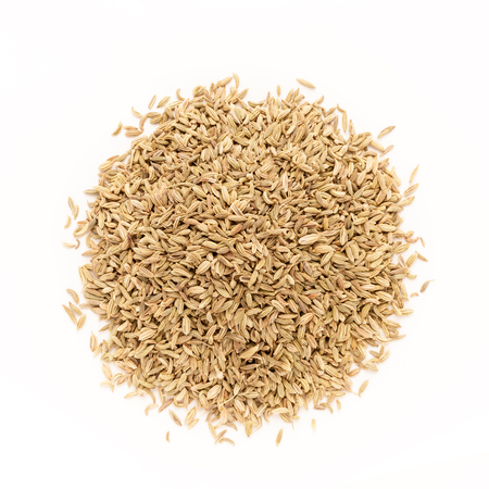 foeniculum vulgare: Top view of Organic Fennel seed Foeniculum Vulgare isolated on white background. Stock Photo