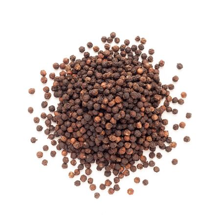 solated: Top view of Organic Black pepper Piper nigrum isolated on white background.