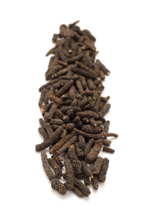 piper: Row of Organic Long pepper Dried Fruit Piper longum isolated on white background.