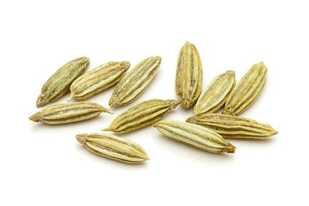 saunf: Macro closeup of Organic Aniseed Pimpinella anisum isolated on white background.