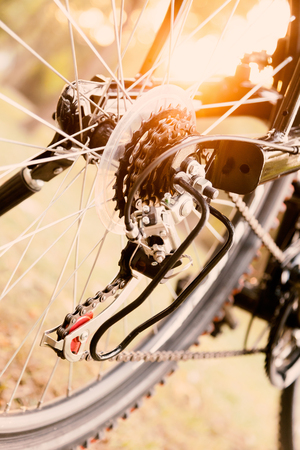 gearshift: Close up of a Bicycle wheel with details, chain and gearshift mechanism, in morning sunlight. Stock Photo