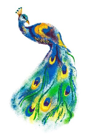 colorful peacock bird rangoli made of handmade soil colors isolated