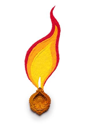 Creative design of burning diwali diya made of handmade soil colors isolated on white background. Stock Photo
