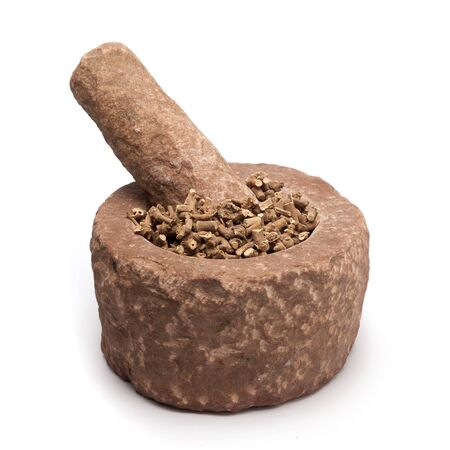 millstone: Organic Ganthoda or Long pepper Roots Piper longum in mortar with pestle, isolated on white background.