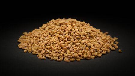 methi: Pile of Organic Fenugreek Trigonella foenum-graecum on dark background.