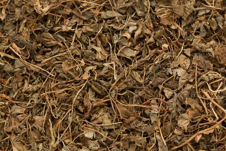 methi: Organic Kasoori Methi or Dried fenugreek (Trigonella Foenum Graecum) leaves. Macro close up background texture. Top view.