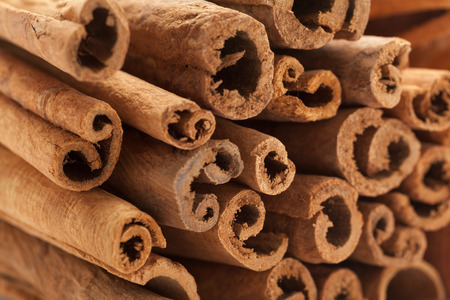 cannelle: Raw Organic Cinnamon sticks (Cinnamomum verum).Macro closeup background texture. Front side view.