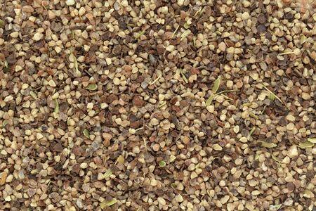 piperine: Organic Black pepper (Piper nigrum) peppercorns in big cut size. Macro close up background texture. Top view.
