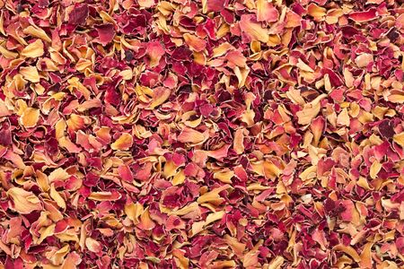 rosaceae: Organic dry Damask rose petals (Rosa damascena) in tea cut size. Macro close up background texture. Top view.