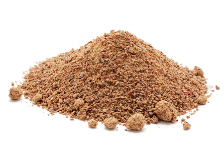 Organic powder of Indian Jujube (Ziziphus mauritiana). Isolated on white background. Front view.
