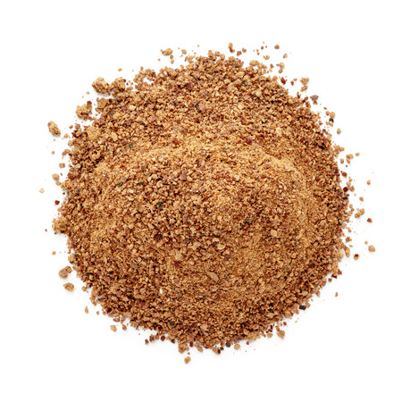 Organic powder of Indian Jujube (Ziziphus mauritiana). Isolated on white background. Top view. Stock Photo