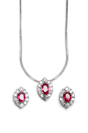 diamond necklace: Close up of beautiful Ruby Diamond necklace with earrings isolated on white background.