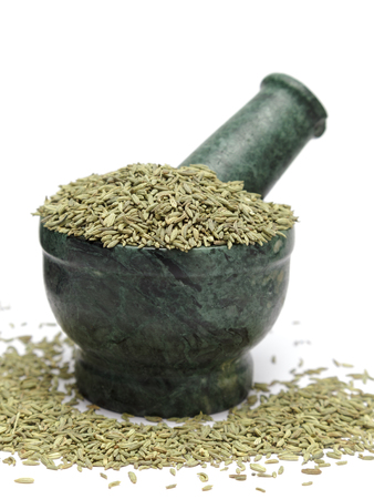 Organic Indian Fennel seed (Foeniculum vulgare) on marble pestle and over white background Stock Photo