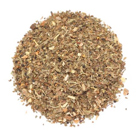 Organic Basil or Tulsi Masala Green tea isolated on white background.