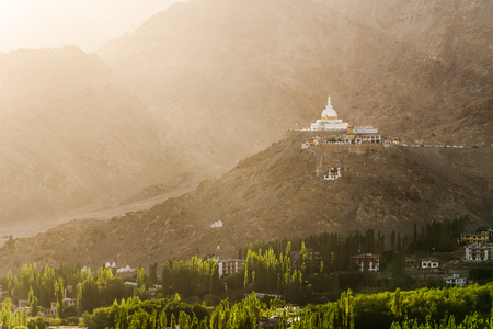Shanti Stupa and urban view in the sunset light