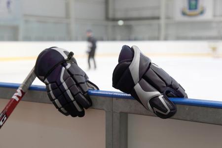 edge of the ice: Hockey gloves on the edge