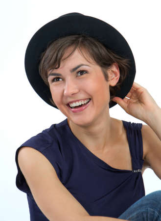 belonging to the caucasoid race: Close-up of a young, beautiful, brown-haired woman.  Stock Photo