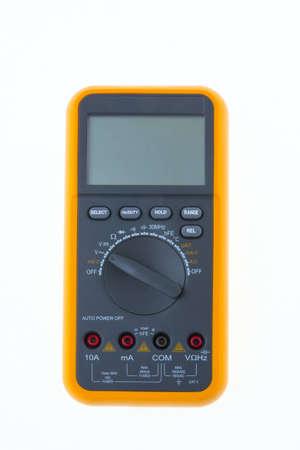 ampere: digital multimeter on white close-up
