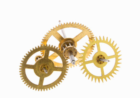 escapement: gears of the old clock on a white background  Stock Photo