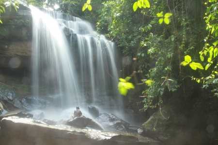 Image of peaceful waterfall in the rain forest photo