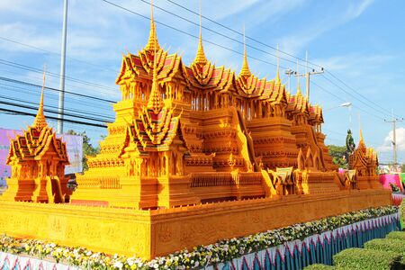 northeast: Castle wax is the little palace is make of wax, thai Buddhist people who live in northeast of Thailand made to worship god buddha in end of Buddhist lent days at sakonnakhon province ,Thailand