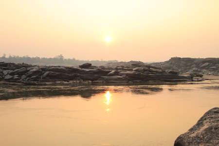 khong river: sunrise  in  the morning at  khong river