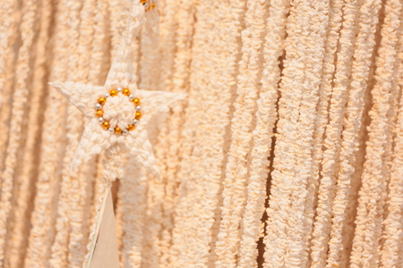 popped: Garlands made of popped Marchers to worship the faith of the Prophet by Buddhists in Thailand, Yasothon. Stock Photo