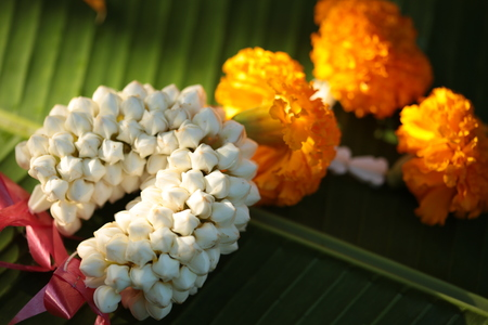 Thai Flowers Garland on leaf background Stock Photo