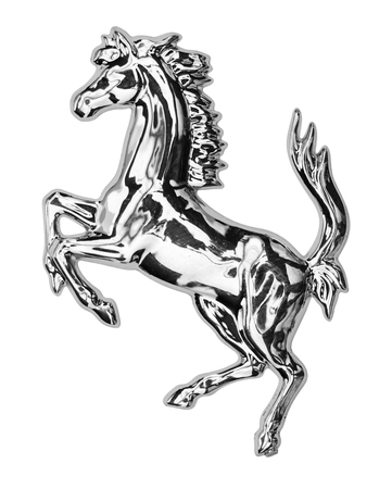 Silver horse isolated on white background.