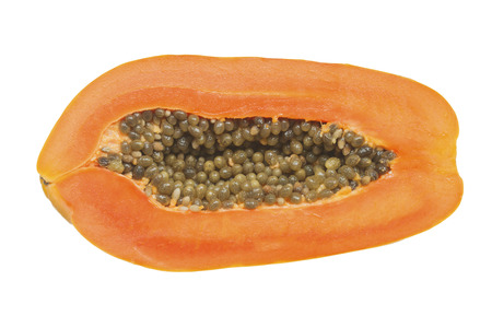 cutaneous: Papaya, cut in half Isolated on white background