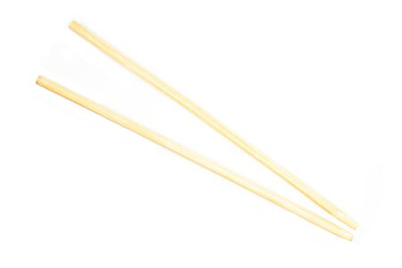 Disposable bamboo chopsticks, Isolated on white background.