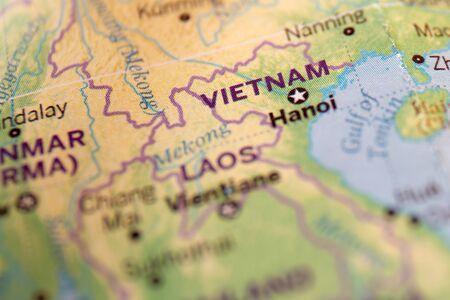 Vietnam auf der Weltkarte, abstrakter Hintergrund. Standard-Bild