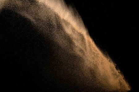 Sand, isolated on black background.