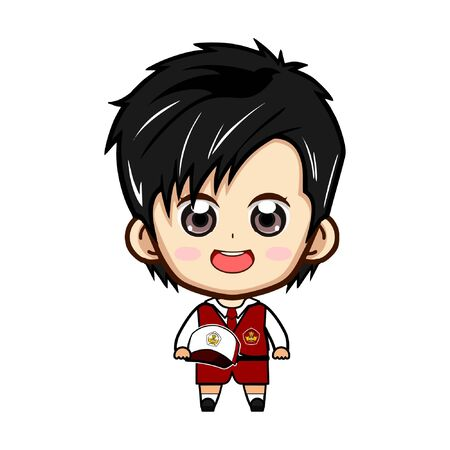Student without teacher vector illustration, primary school element design, asian cute child.