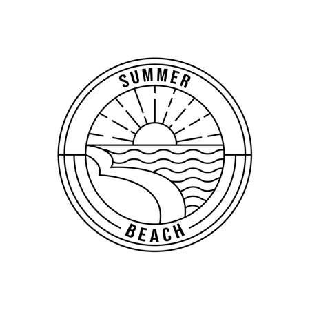 tropical island vector logo line art minimalist symbol illustration design
