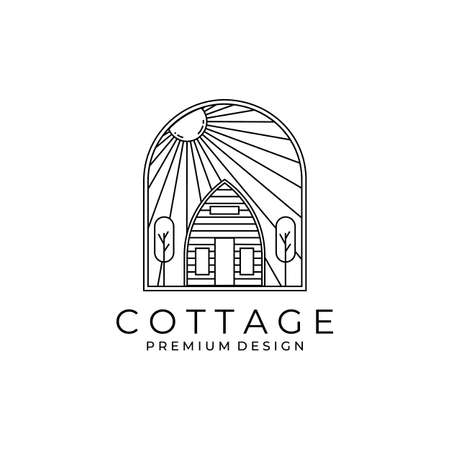 minimal cottage with sunburst icon logo vector symbol illustration design