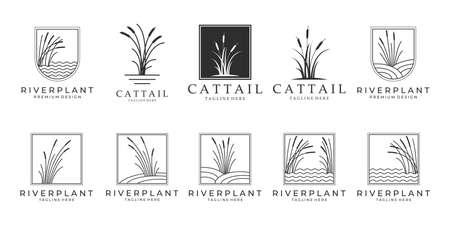 set Cattails logo bundle vector illustration design, cattail icon.