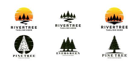 set of evergreen pine tree logo vintage with river creek vector emblem illustration design. Logo
