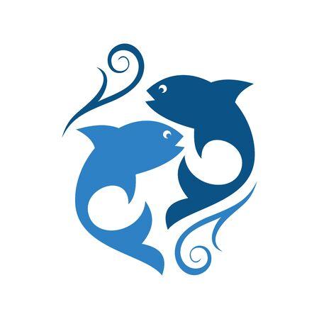 abstract two fish logo icon icon vector design concept