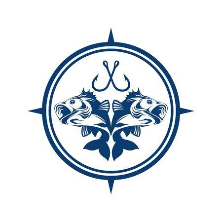fishing logo icon abstract blue concept icon vector design concept Illustration