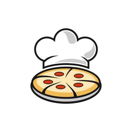 abstract pizza food chef kitchener icon logo vector design concept Stock Illustratie