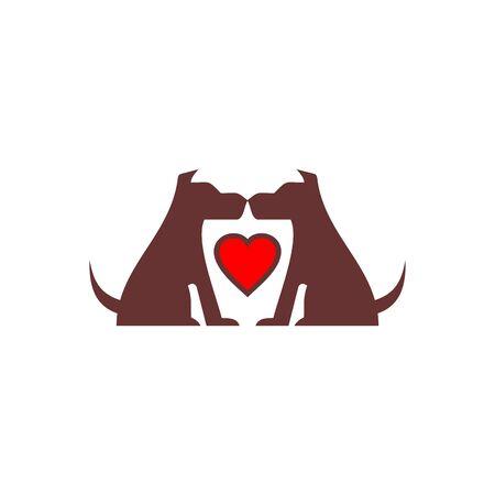 Abstract two dog love logo design Standard-Bild - 133291365