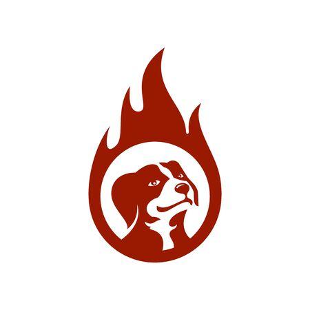 Dog in fire design Standard-Bild - 133291604