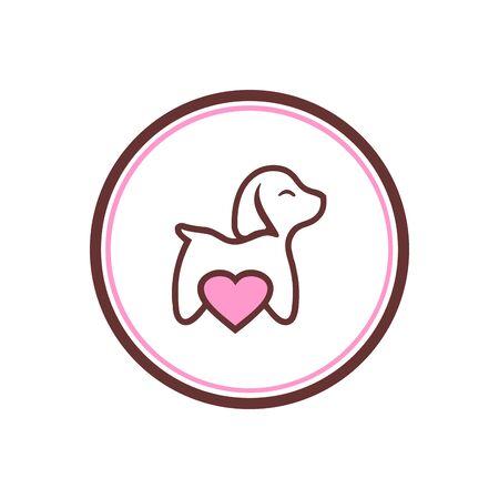 Dog pets with heart design on white Standard-Bild - 133291611