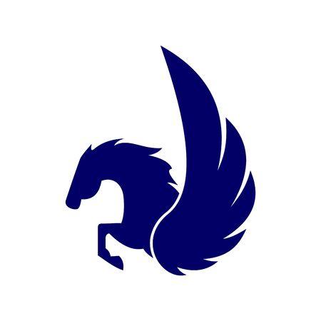 Pegasus blue design on white Çizim