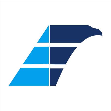 abstract eagle letter E icon vector flat concept design