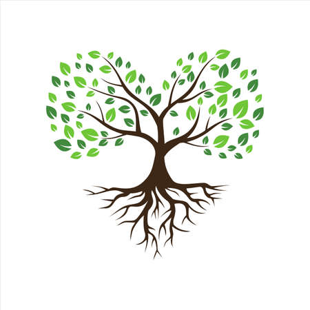 abstract tree love concept with root icon vector flat concept design